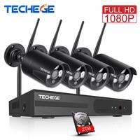 Techege 1080P 4CH Wireless NVR CCTV System 2MP Outdoor Waterproof P2P WiFi IP Camera Waterproof Security