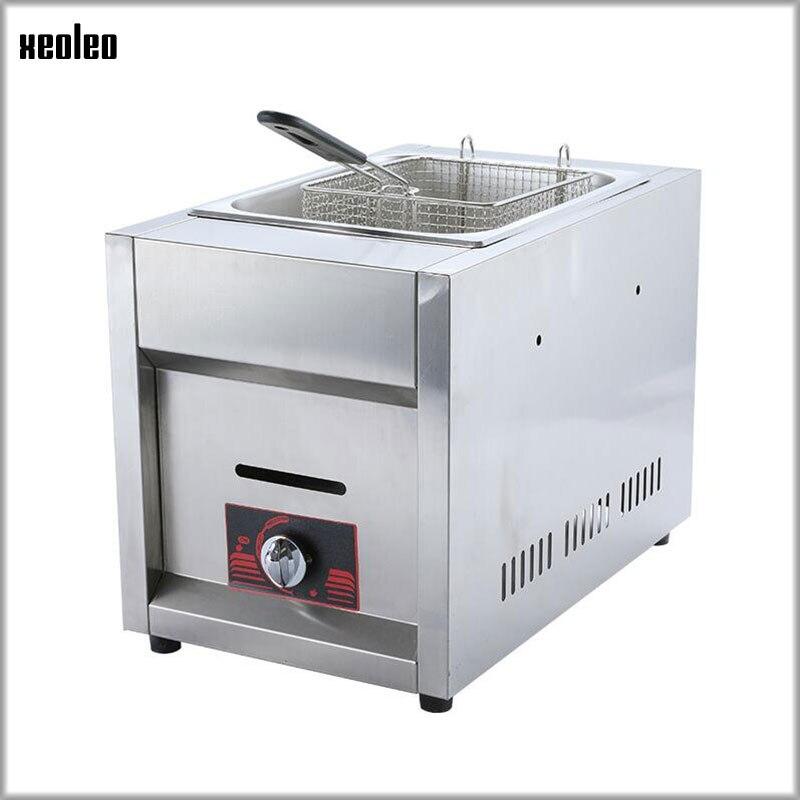 XEOLEO Stainless Steel Gas Fryer Multi-function Commercial Fryer 6L Single Tank Single Basket Gas Frying Machine Fried Chicken цена