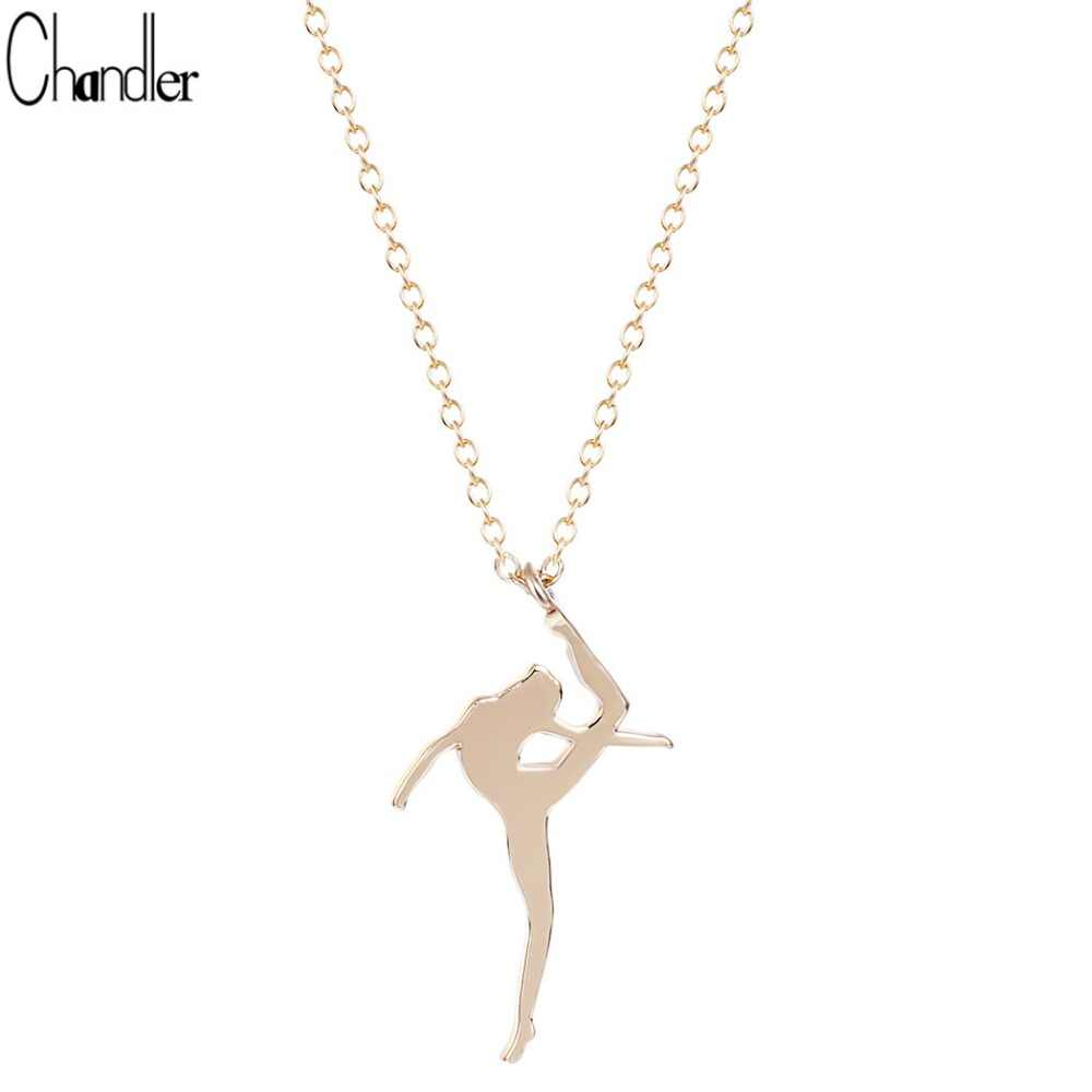 Silver Plated Ballet Dancing Dancer Pendant Necklace For Women Clavicle Chain Handmade Wedding Bridal Gift Tiffan Jewelry