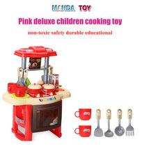 The KidS Cute Red/Pink Kitchen Children Cooking Pretend Role Toy Play Set With Lights Sound Electronic DIY Kids Pretend Toy