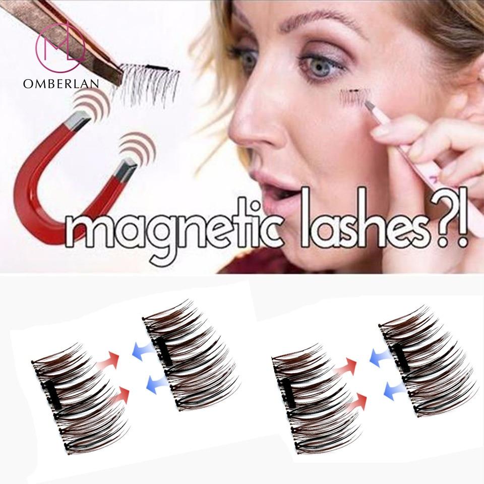 3D magnētiskās skropstas 4gab / pāri Mākslīgās dabīgās garās magnētiskās skropstas Krusts biezs magnētiskais skropsts Populārs NewArrival