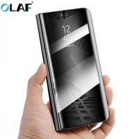 Olaf Original Mirror Cover Clear View Smart Cover Phone Case For Samsung Galaxy S8 Plus Rouse
