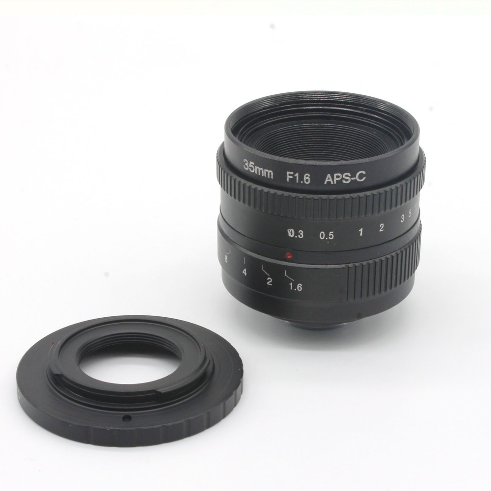 ФОТО 35mm f1.6 C mount CCTV Lens for APS-C sensor camera with EOSM adapter ring for For Canon EOS M / M2 / M3