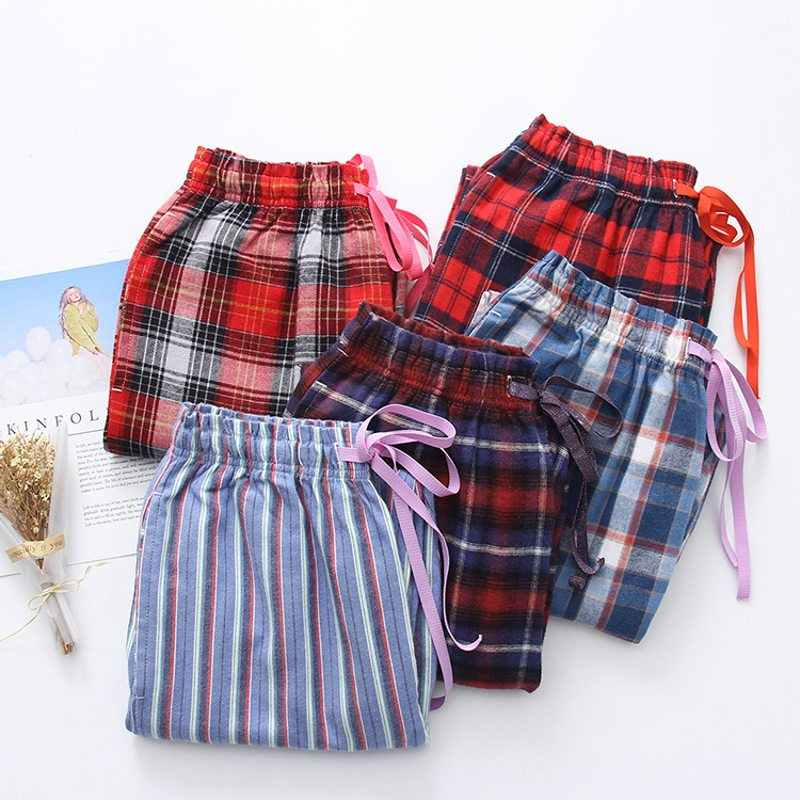 2019 Spring Autumn Women Cotton sleep bottoms Female loose plus size nighty trousers  sleepwear pyjama Ladies 0a907b3fb