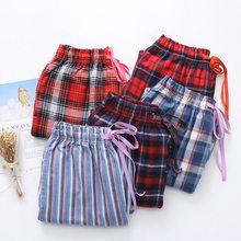 Sleepwear Pants Trousers Plaid Sleep-Bottoms Plus-Size Women Loosen Ladies 100%Cotton