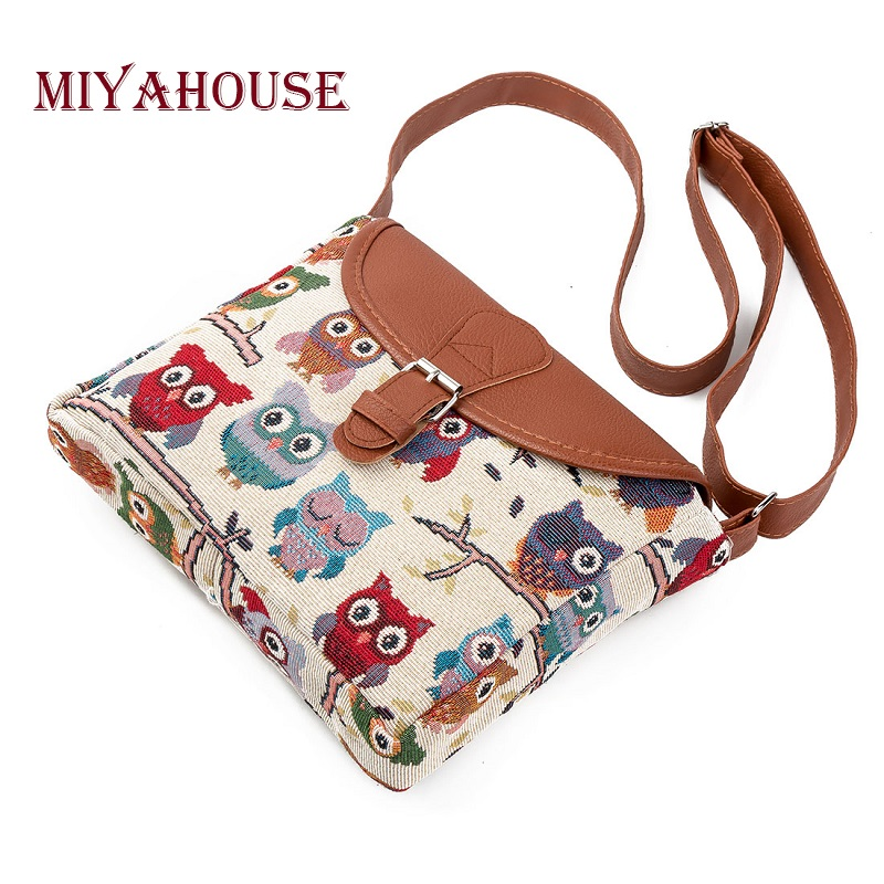 Miyahouse Summer Women Messenger Bags Canvas Owl Printed Crossbody Shoulder Bags Small Ladies Handbags Flap Bag High Quality a1330 summer solid small flap bag ladies leather handbags women messenger bags female shoulder crossbody bag candy color sweet
