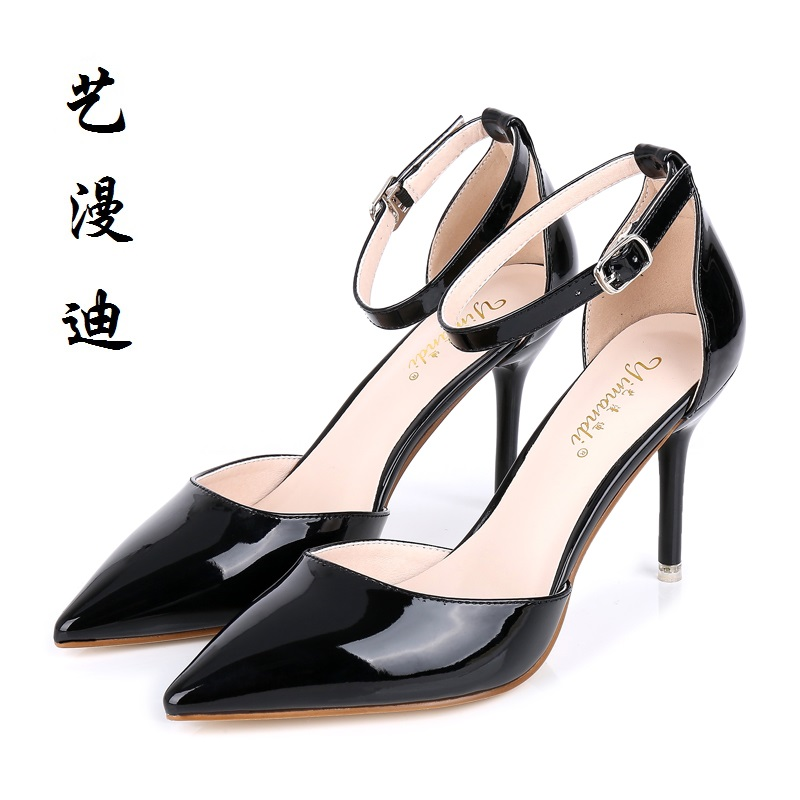 2017 Small Size 31-43 Black Patent Leather Sexy Women Sandals High Heels Ladies Pumps Shoes Woman Summer Style Chaussure Femme summer sandals women high heels wedding shoes sexy sandals women black patent leather brand sandals woman chaussure femme k 022