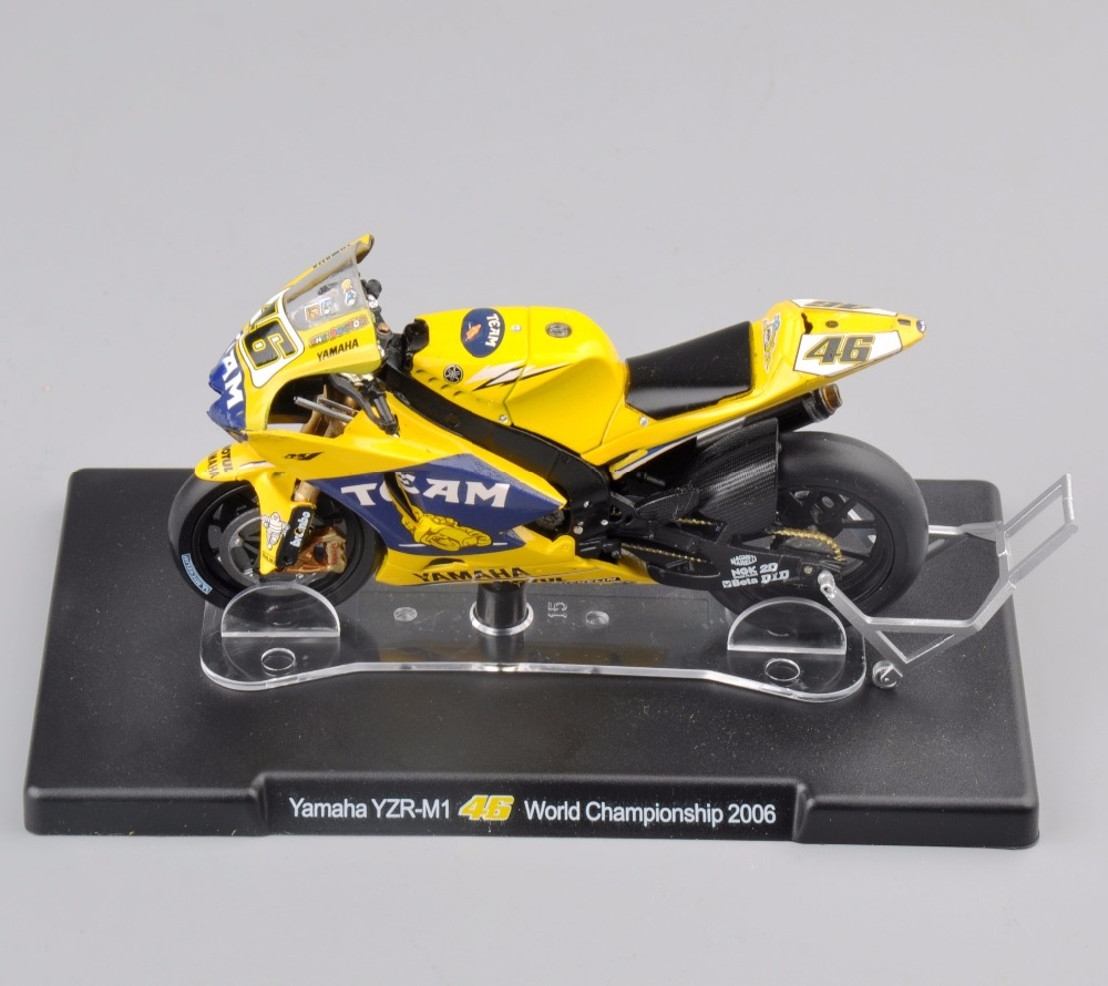 1/18 Scale VALENTINO ROSSI Yamaha Motorcycle Model No.46 YZR-M1 World Championship 2006 Yellow Diecast Moto Kids Toy tamiya 1 12 yamaha motorcycle model yzr m1