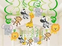 30 pcs Decoração Festa de Aniversário Crianças Zoo Safari Animal Da Selva Folha Espiral Redemoinhos Da Bandeira Bunting Garland Streamer Do Chuveiro de Bebê