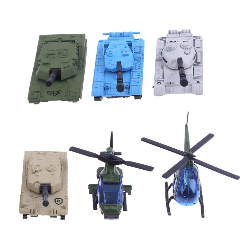 6pcs/Set Mini Alloy Tank Airplane Model Toy Children Kids Toy Model Helicopter Sliding Car Model Toy Gift For Holiday