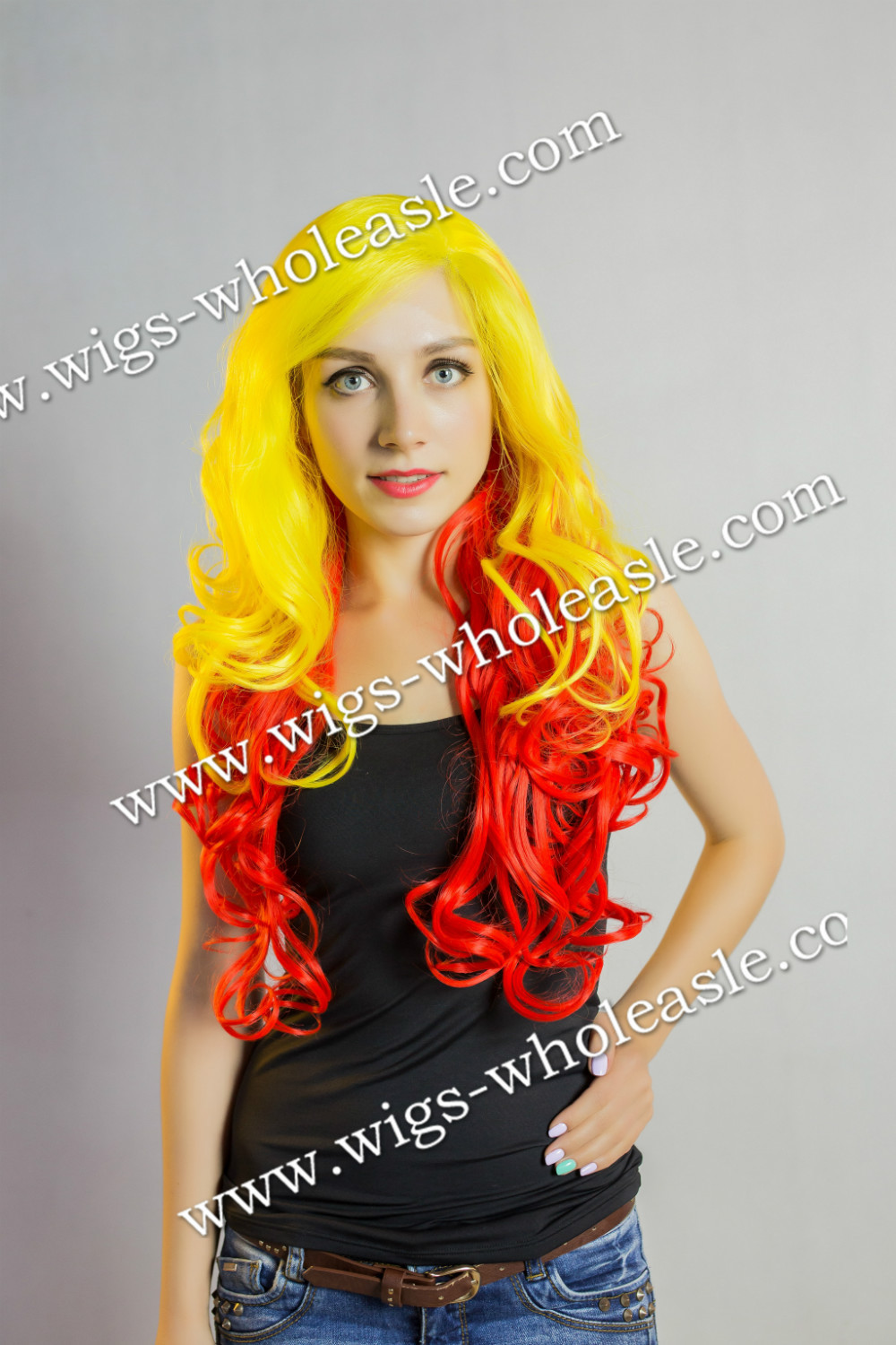 ФОТО New Arrival Two Tone colors Yellow mixed Red Synthetic Lace Front Wig