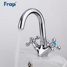 FRAP Bathroom Chrome Basin Faucets Kitchen Faucet Daul Handle Sink Faucet Tap Bath Hot and Cold Water Mixer Faucet F1319 цена