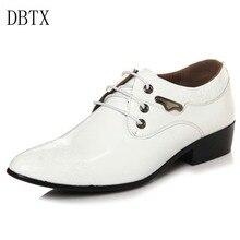 цена Brand classic male Footwear Brown black White Push dress patent leather office Large Social elegant shoe for men
