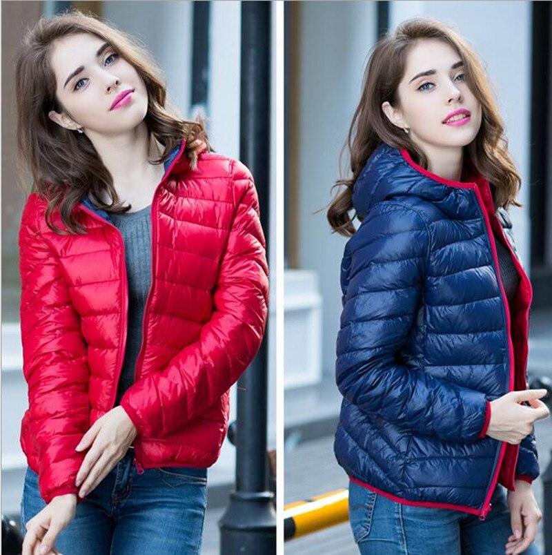 S-XXXL Yeni 2016 Kış Iki Yan Kadınlar 90% Beyaz Ördek Aşağı ceket kadın Kapüşonlu Ultra Hafif Aşağı Ceketler Sıcak Kış Ceket Parkas
