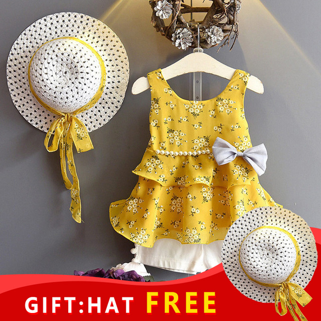 Children Summer Clothes Sets 2019 New Style Girls Sleeveless Sling Floral Chiffon Clothes Suits And Straw Hat 3pcs Baby Clothes
