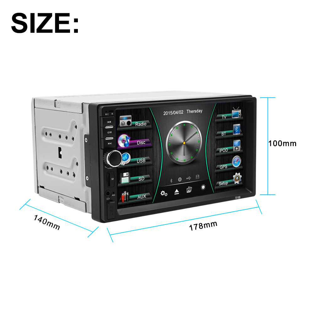"""DIN """"HD Terbaru Bluetooth"""