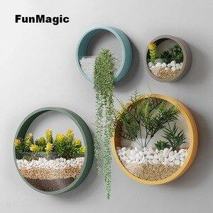 Image 5 - Jarrón de pared creativo de Metal, jarrón colgante de Color sólido para decoración del hogar, manualidades, soporte de flores artificiales, 3 unidades por lote