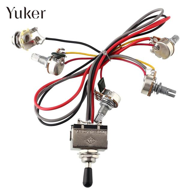 US $6 11 |Yuker Wiring Harness 2V/2T 3 Way Toggle Switch 500K Pots For  Guitar Dual Humbucker Replacement-in Guitar Parts & Accessories from Sports  &
