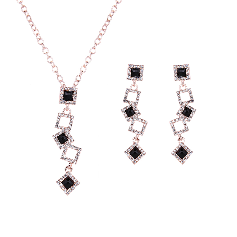 Hot Fashion Rose Gold Color Jewelry Set Exquisite Multiple Square