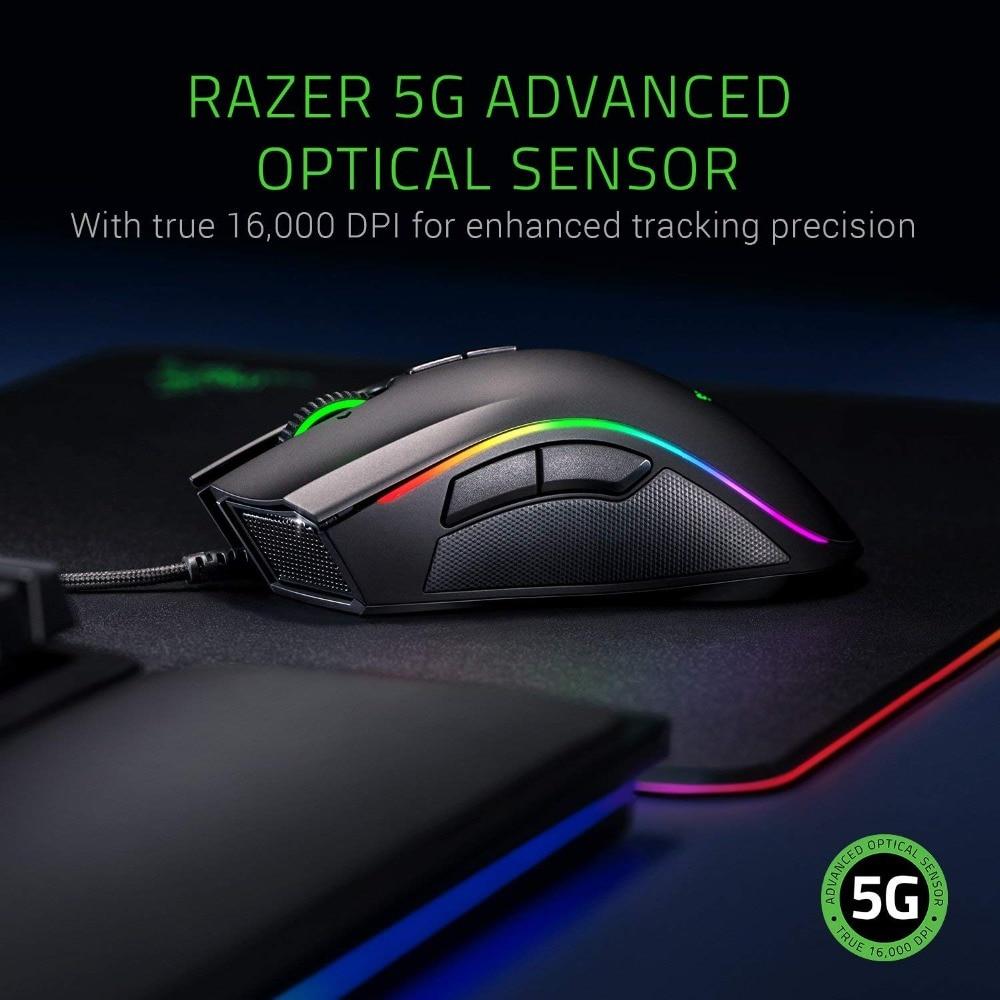 NEW Razer Mamba Elite Wired Gaming Mouse 16000 DPI 5G Optical Sensor Chroma Light Ergonomic Gaming Mouse For PC Gamer Laptop