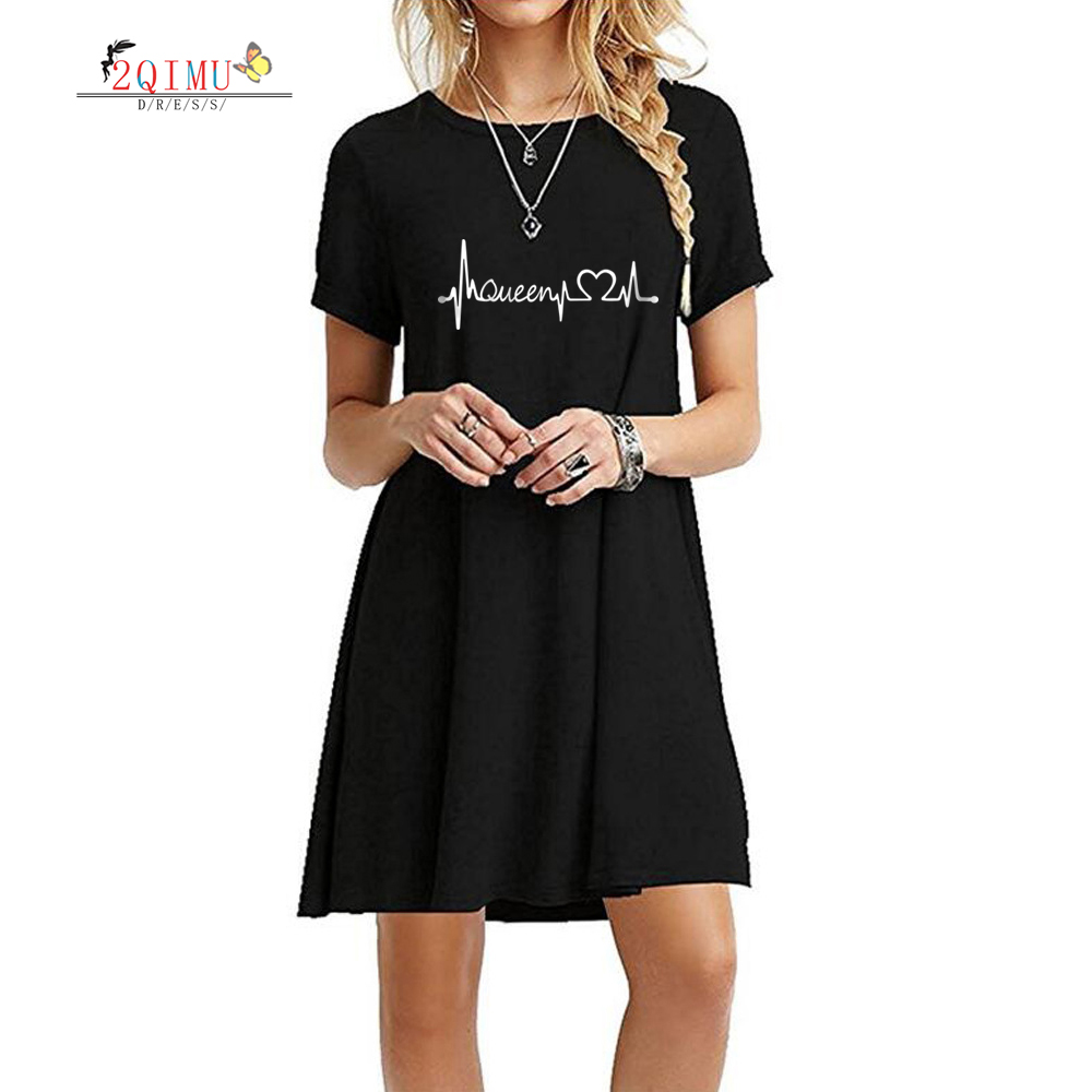 2QIMU 2019 Print Summer Fashion Womens Dress A-line Casual Knee-Length O-neck Short Sleeve Vestidos Sexy