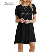 2QIMU 2019 Print Summer Fashion Womens Dress A-line Casual Knee-Length O-neck Short Sleeve Vestidos Sexy