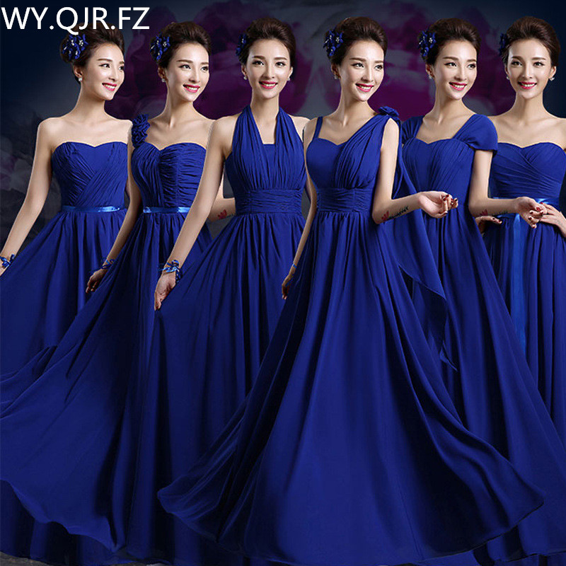 QNZL02#2019 Spring Summer Long Lace Up Royalblue Chiffon Bridesmaid Dresses Wedding Party Prom Dress Ladies Fashion Wholesale