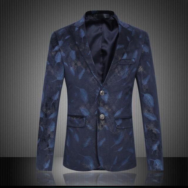 Top Quality Men Blazer Moda Slim Fit Jaqueta Blazer Flor homens Dois Botões de Negócios Desgaste Formal Paletó Para Os Homens roupas