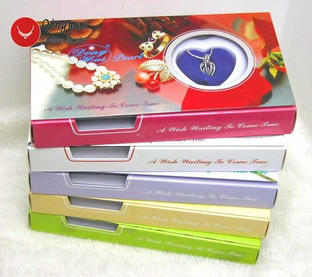 Qingmos 5 pudełek życzenie perła miłość serce uchwyt na bidon Chokers naszyjnik dla kobiet z zawieszkami naszyjnik z pereł Oyster Gift Box 3621