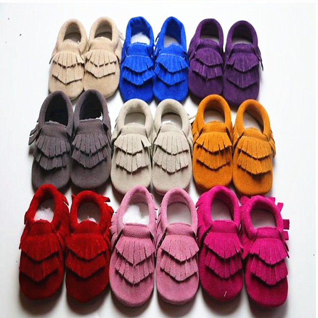Double Tassel Solid Color Deocr Anti-slip Elastic Band Genuine Leather Fashion Sewing Soft Soled Infants First Walker