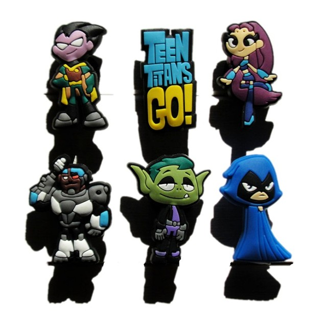 4cc493a29d5a 30pcs Cartoon Teen Titans Go Cute PVC Shoe Charms Buckles Accessories Fit Wristbands  Bracelets Croc JIBZ