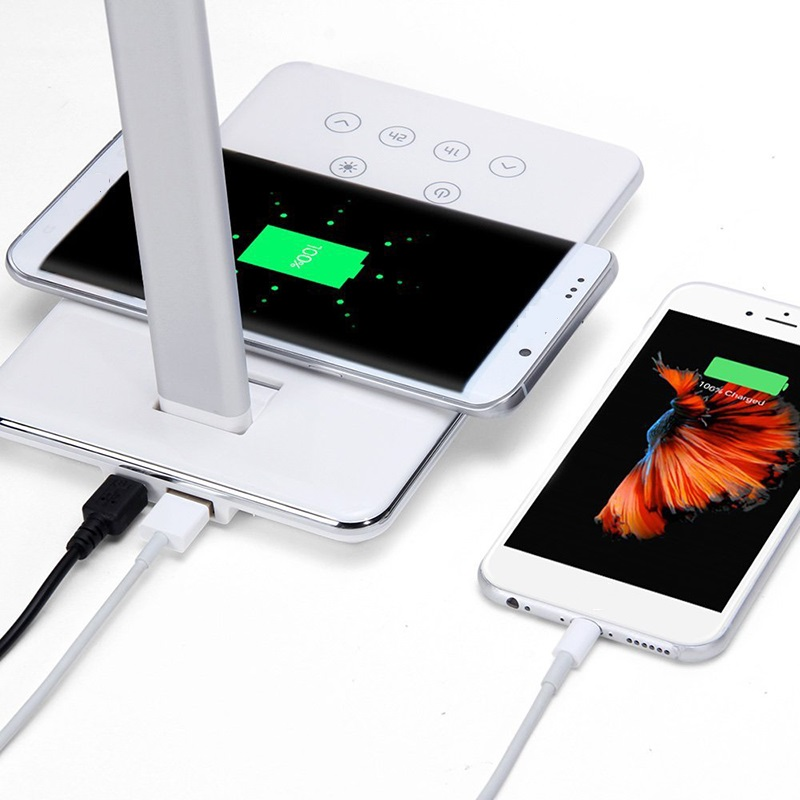 DOITOP Universal Wireless Desktop Charger USB Charging For Smartphone Folding QI Wireless Charger With 4 Light Color Desk Lamp