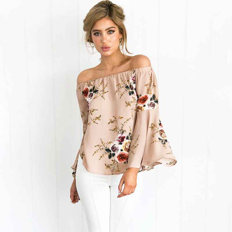 Women's Summer Beach Off Shoulder Sexy Floral Printed Baggy Frill Over Size  Casual T-Shirt  Boho Tops