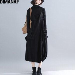 Image 2 - Dimanaf plus size vestido longo feminino grosso inverno senhora vestidos elegantes sem mangas solto casual feminino grandes bolsos vestido irregular