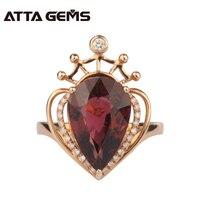 Натуральный красный турмалин обручальное кольцо для Для женщин кольцо с бриллиантом 18 К Роза Золотая Корона Дизайн Обручение кольцо бренд
