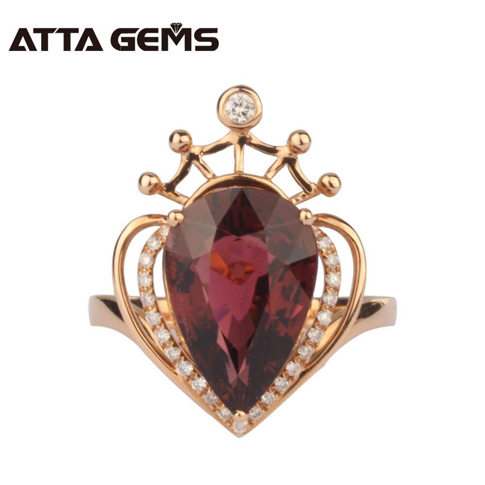Bague de mariage Tourmaline rouge naturelle pour femmes bague en diamant 18 K or Rose couronne Design bague de fiançailles marque bijoux fins