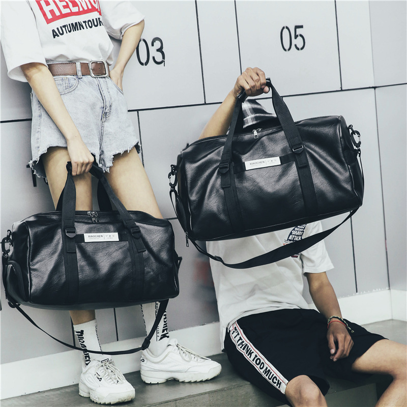 Women Men Unisex Travel Bag Handbag Beach Shoulder Bag Crossbody Bag PU Large Capacity Couples Duffel With Shoe Position