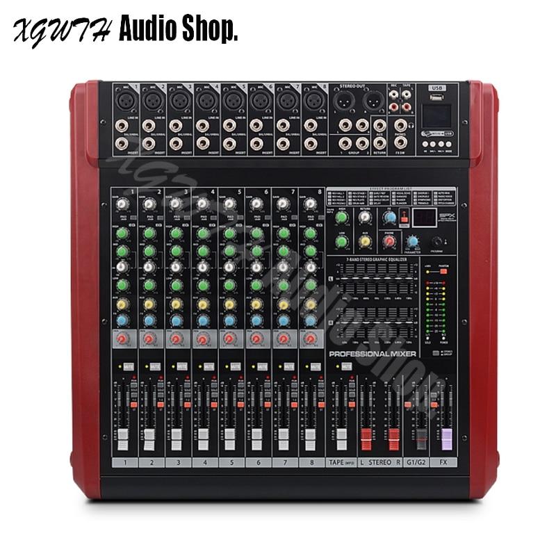 Dj Verstärker Mixer 8 Kanal Usb Bluetooth Mischen Konsole 500 W 48 V Phantom Power 500 W High Power Audio Bühne Ausrüstung Mit