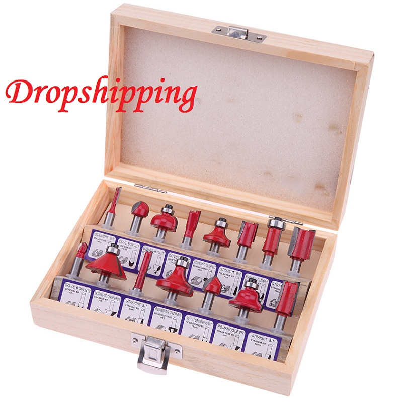 цена на 15Pcs 1/4 Shank Wood Router Set of Tool Milling Cutters Tungsten Carbide Wood Cutter Woodworking Tools Forming Milling Tool Set