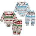 Otoño Ropa de Bebé Niño Chico Chica Bbay Copo de Nieve Romper + Pants 2 unids Bbay ropa de Dormir Pijamas Set Trajes de Navidad
