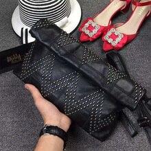 Echtem Schaffell Leder Handtaschen Frauen Schulter Bags Umschlag Handtasche Crossbody Taschen Frauen Messenger Bags
