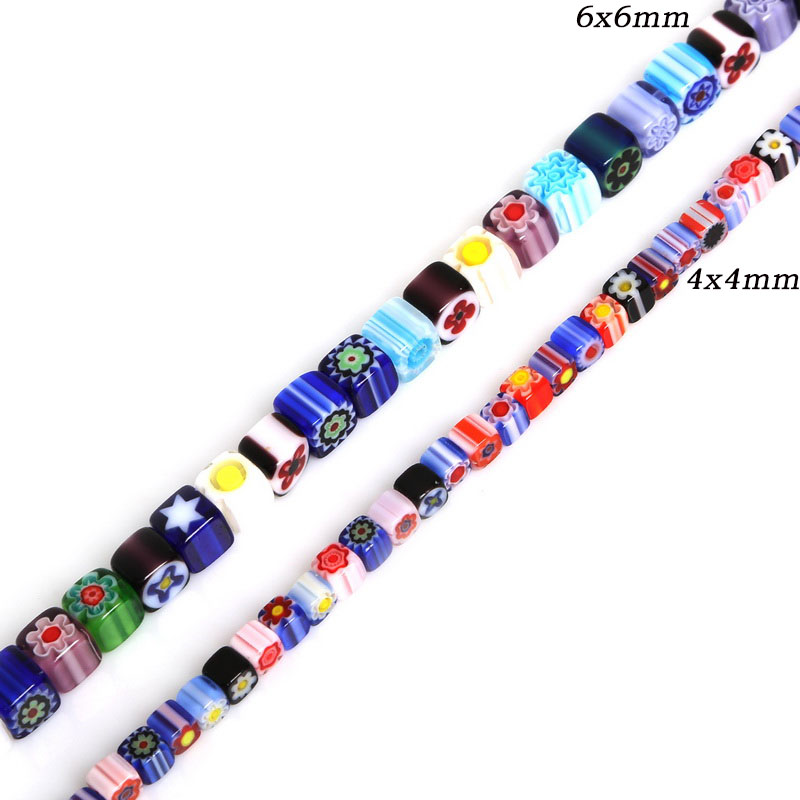 4/6mm Approx 63-95pcs Mixed Color Square Shape Millefiori Flower Lampwork Glass Beads For Jewelry Making Necklace Bracelet DIY(China)