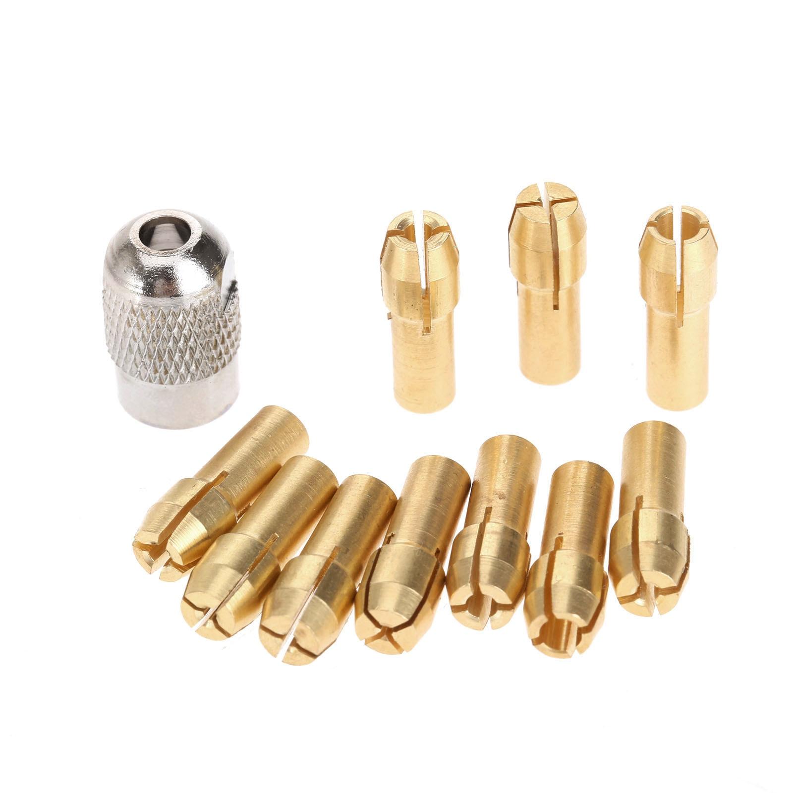 Dophee 10Pcs 0.5-3.2mm Brass Collet Mini Drill Chucks 4.8mm Dremel Rotary Tools+1Pc Mill Shaft Screw Cap Power Tool Accessories
