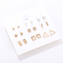 Simple 9Pairs/Sets Vintage Gold Color Round Square Triangle Simulated Pearl Stud Earrings Set For Women New Brincos Jewelry