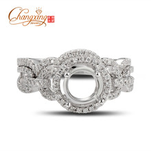 Caimao Jewelry 6.5mm Round Cut 14K White Gold Natural Diamond Enagament Ring & Wedding Band