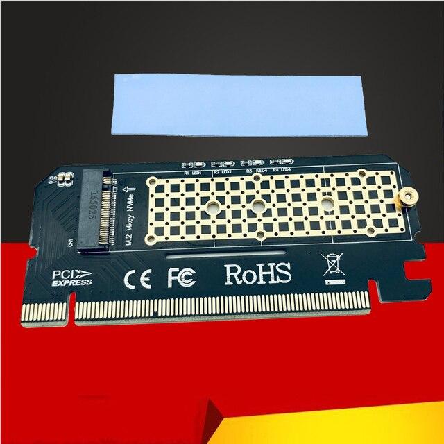 وصل حديثًا وحدة تحويل بطاقات توسيع Led من سبائك الألومنيوم واجهة مهايئ الكمبيوتر M.2 NVMe SSD NGFF إلى PCIE 3.0 X16