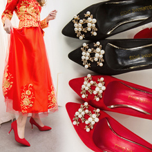 Classics Women High Heel Pumps Shoes Fashion Pointed Toe Kitten Heel Suede Dress Crystal Wedding Shoes Red Bottom High Heels недорого