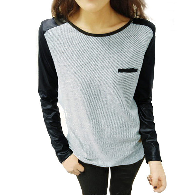 2016 New Style Long Sleeved Women T Shirt Round Neck T