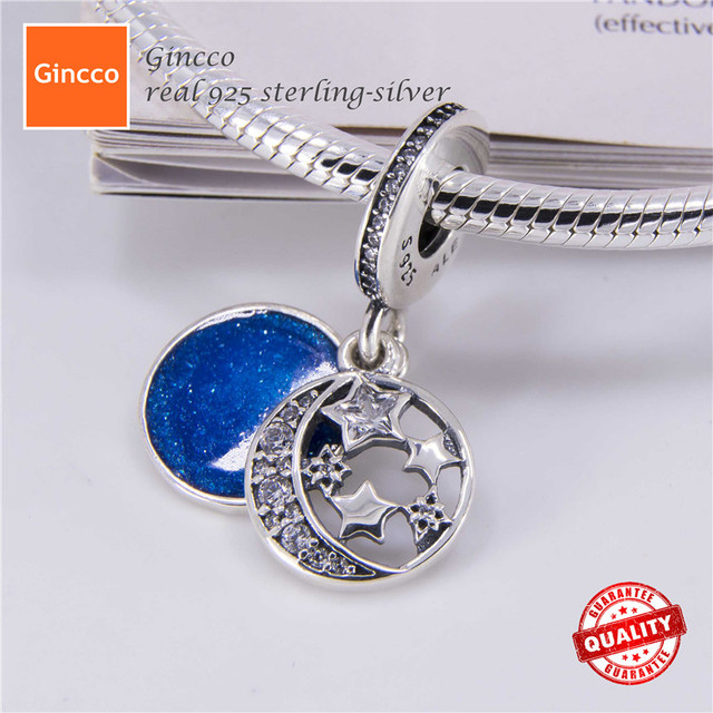 Gincco Special Real 925 Sterling Silver Vintage Night Sky Pendant Charm fit Pandora Bracelet as Jewelry Gift for Lovers