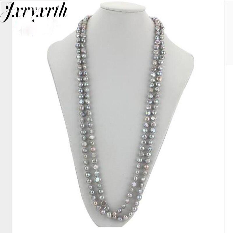 Jxryxrth nouveau collier de perles d'eau douce fait à la main véritable perle 160 cm couleur grise